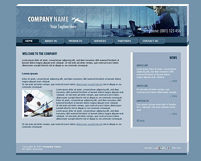 Home page layout of website template 005. Quality light-steel-blue website template with 3D-tabs navigation bar on the top, news section and nice collage. Designed by Colorifer.com