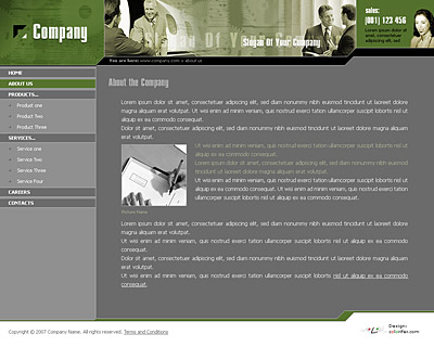 Content page layout of website template 006. Quality gray and green website template / web page template with nice collage, sidebar on the left with submenu, news and testimonials sections. Categories: Angular style, Business, Education, Law, Politics, Clean style, Commerce. Designed by Colorifer.com