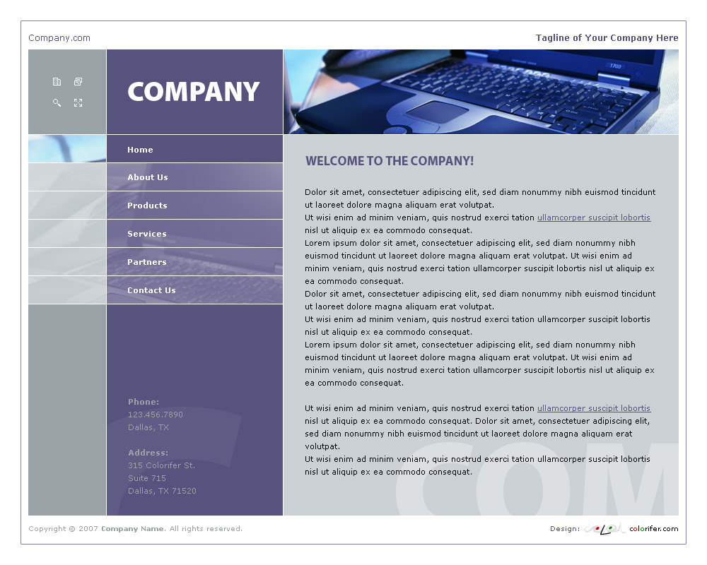 Home page layout of website template 007. Quality violet and gray website template / web page template with simple rectangular structure, original sidebar on the left, icons. Categories: Business, Computers, Education, Law, Politics, Clean style, Commerce. Designed by Colorifer.com