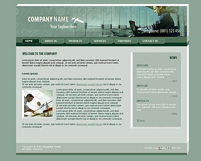 Skin 3. Home page layout of website template 005. Quality light-steel-blue website template with 3D-tabs navigation bar on the top, news section and nice collage. Designed by Colorifer.com