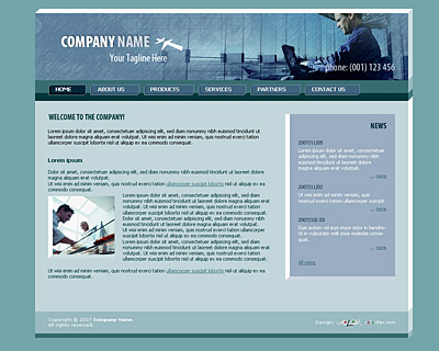 Skin 4. Home page layout of website template 005. Quality light-steel-blue website template with 3D-tabs navigation bar on the top, news section and nice collage. Designed by Colorifer.com